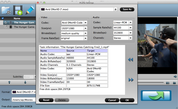 Avid MC format settings