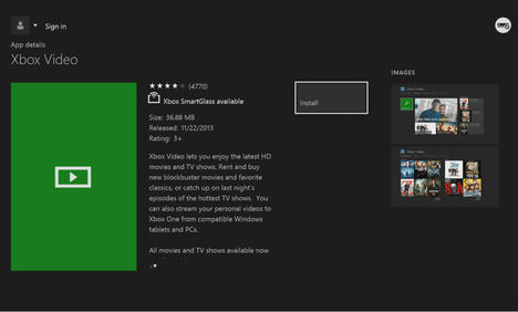 video application open on Xbox One