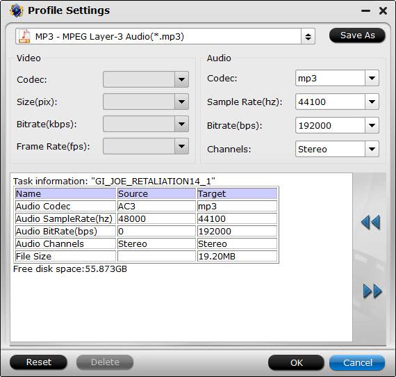 mp3 format settings