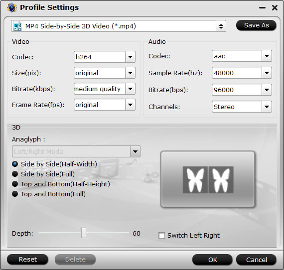 SBS MP4 video settings