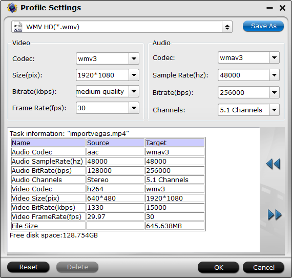 WMM Format Settings
