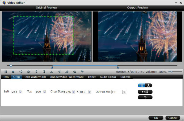 Crop video file size